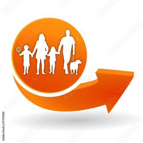famille sur bouton web orange