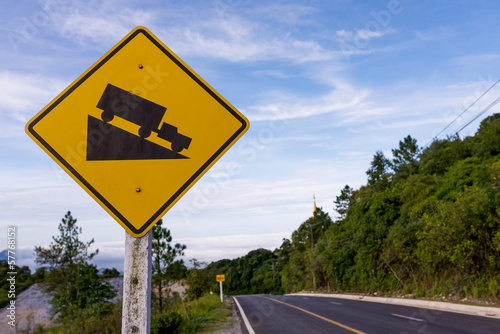 Steep slope road traffic sign on Doi Intanon road,Thailand