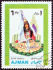 Woman in traditional costume (Ajman 1968)