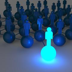 3d light growing human social network and leadership