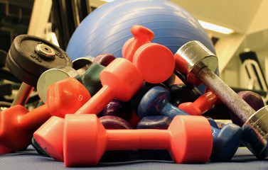 Sport, dumbbells in the gym, fitness