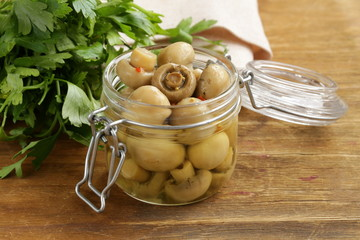 snack marinated mushrooms with herbs and spices