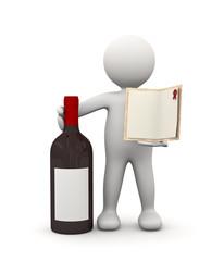 omino bianco con bottiglia di vino e menu'