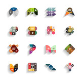 Set of 3d flat geometric abstract icons