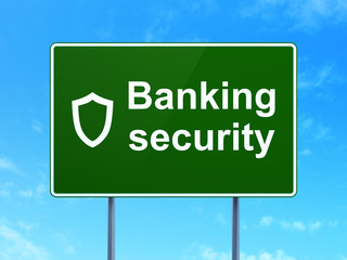Protection concept: Banking Security and Shield on road sign