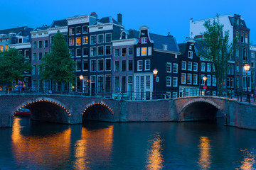 Bridge in Amsterdam at night