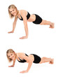 Fit young athletic woman doing push ups