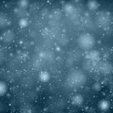 Fototapety Christmas dark blue background with snowflakes.