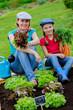 Gardening, girl with mother working in vegetable garden