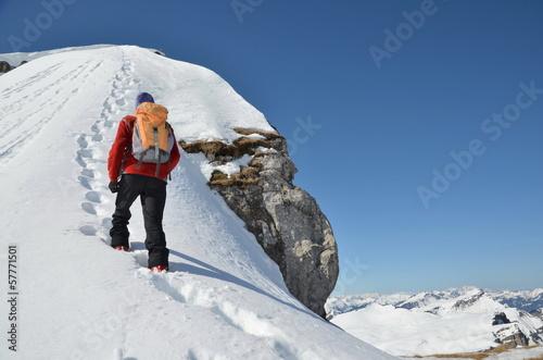 Leinwandbild Motiv Bergsteiger,  Winter, Gipfel