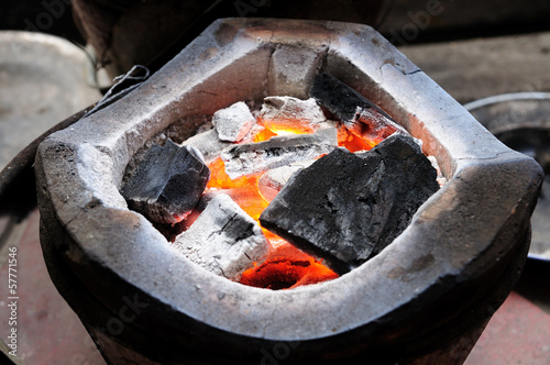 charcoal-brazier with charcoals fired