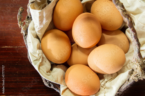 Still life eggs in basket