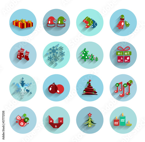 Christmas flat vector icon set