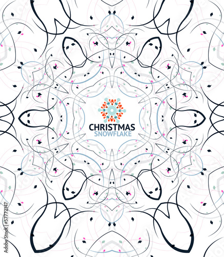 Abstract Christmas snowflake floral design