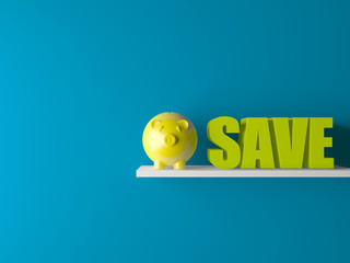 piggy bank in room with 3d save text
