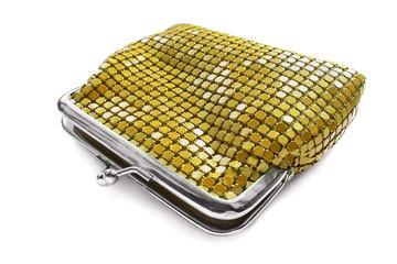Golden metal purse