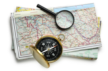 Road map plan and compass