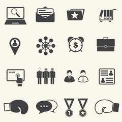 Business Fighting icons with texture background. Vector