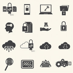 Data and computer security icon set with texture background. Vec
