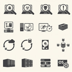 Programmer software development and Database management icons wi