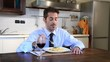 unmarried businessman eating pasta