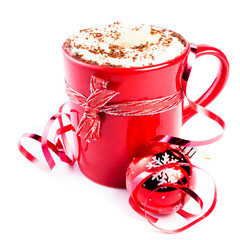 Christmas card with red coffee cup topped with whipped cream and