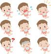 いろいろな表情の赤ちゃん