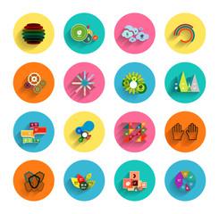 Infographic inside colorful circles. Flat icon set
