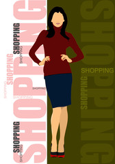 Cute shopping lady. Vector colored illustration