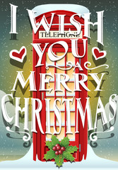 Christmas Greeting Card with English Red Cabin