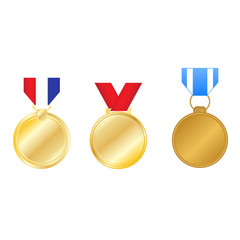 Vector set of golden medals