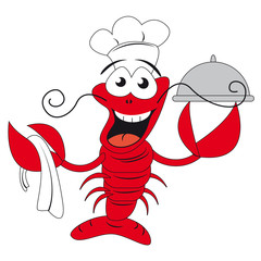 Lobster chef holding a plate - funny vector illustration