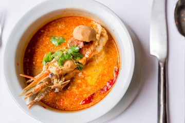 Tom yam ,Thai traditional spicy soup with river prawn