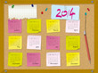 2014 calendar - week starts on Sunday - cork board with notes