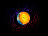Earth cut-away with the magnetosphere
