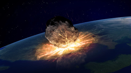 Large asteroid hitting Earth