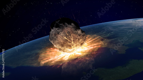 fototapeta na ścianę Duża asteroida uderzając Ziemię