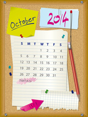 2014 calendar - month October - cork board with notes