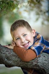Portrait d'un jeune garçon dans un arbre #2