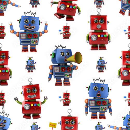 Naklejka Bezszwowe wzór rocznika zabawki robota