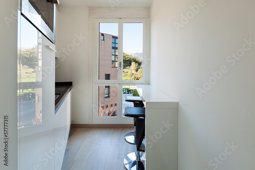 Interiors building, .modern apartment, kitchen view