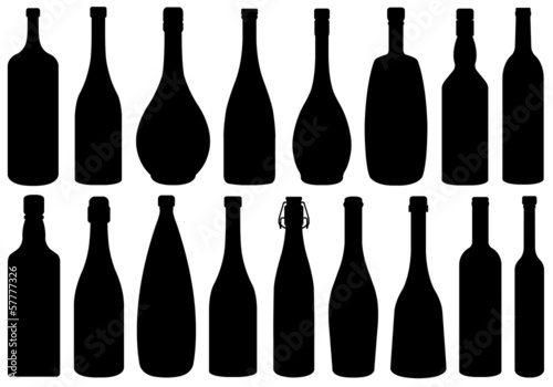 Set Of Different Glass Bottles