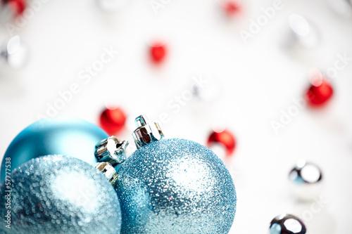 Christmas decoration, blue ball on white background