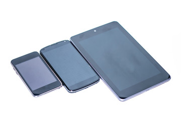 Smartphone, tablet and mp3player in a whitebackground