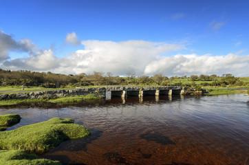 Granite Clapper Bridge on Bodmin Moor in Cornwall