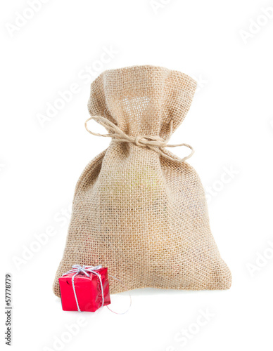 closed sack bag with presents