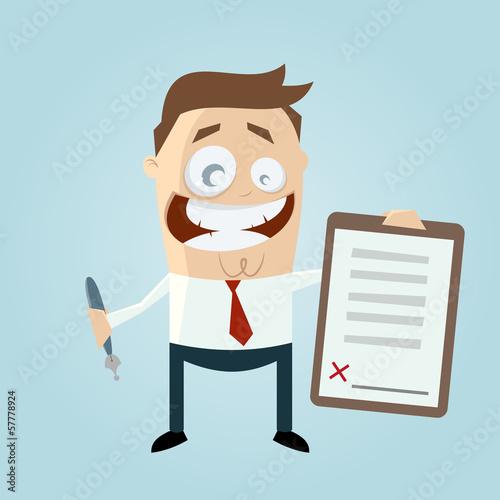 vertrag unterschrift business cartoon