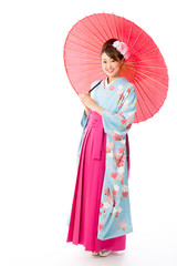 japanese traditional woman on white background