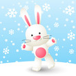 Cute white rabbit on winter background