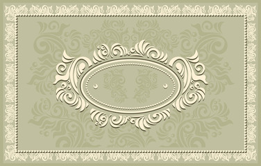 Invitation or frame or label with Floral  in olive